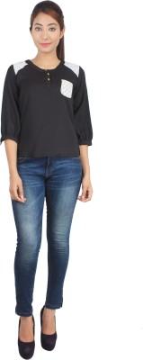 Su&Jay Casual 3/4 Sleeve Solid Women's Black Top