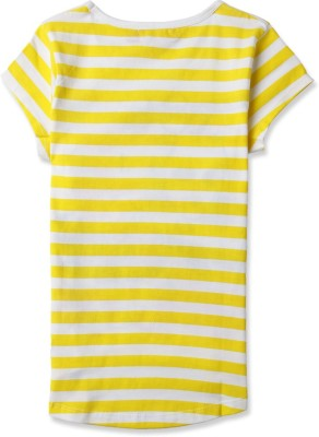 London Fog Casual Short Sleeve Graphic Print Girl's Yellow Top
