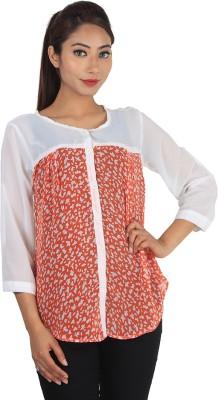 Jiyami Creations Party 3/4 Sleeve Printed Girl's Orange, White Top