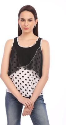 Legona Casual Sleeveless Printed Women's Black, White Top