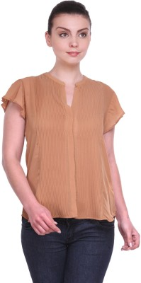 Kami Casual Short Sleeve Solid Women,s Brown Top