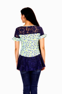 Damsel Casual Short Sleeve Floral Print Women's Blue Top