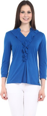 Miss Grace Casual 3/4 Sleeve Solid Women's Blue Top
