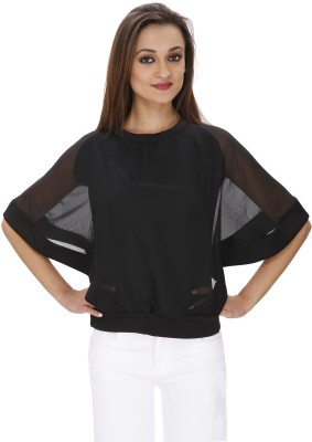 Svt Ada Collections Party Bell Sleeve Solid Women's Black Top