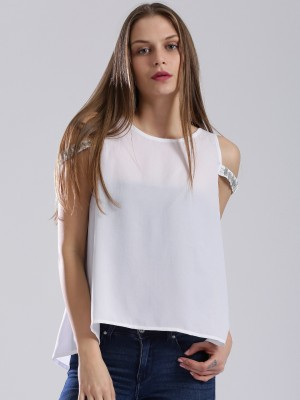 Dressberry Casual Sleeveless Solid Women's White Top