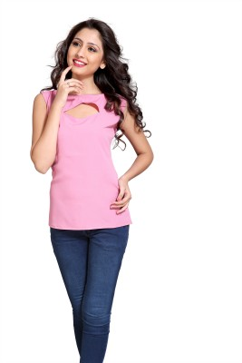 Eighteen4ever Casual Sleeveless Solid Women's Pink Top