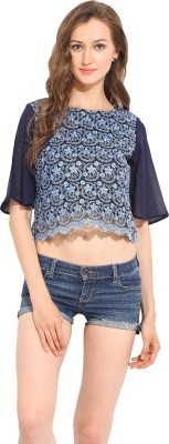 Albely Casual Short Sleeve Embroidered Women's Blue Top
