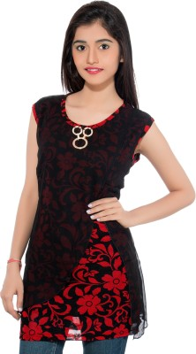Membooz Casual, Party Short Sleeve Floral Print Women's Black, Red Top