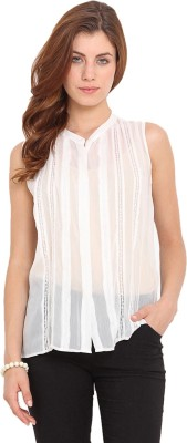 Paprika Casual Sleeveless Solid Women,s White Top