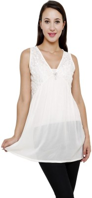 Rumara Casual Sleeveless Applique Women's White Top