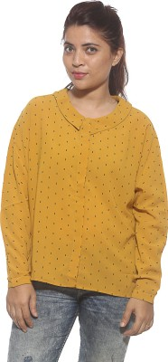 Pepe Casual Full Sleeve Printed Women's Gold Top
