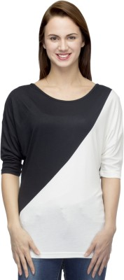 Primo Knot Casual 3/4 Sleeve Solid Women's Black, White Top