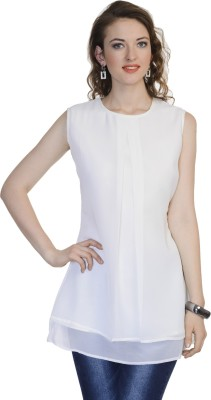 Urbane Woman Casual Sleeveless Solid Women's White Top