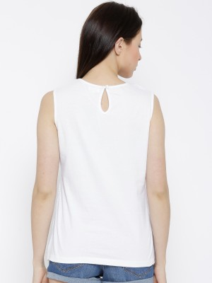 Citrine Casual Sleeveless Solid Women's White Top