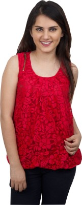 Kaaf Fashion Casual, Party, Festive Sleeveless Floral Print Women's Red Top
