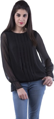 Aarr Casual Full Sleeve Polka Print Womens Black Top