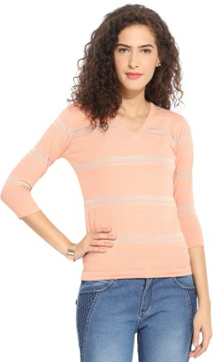Northern Lights Casual 3/4 Sleeve Striped Women's Pink Top