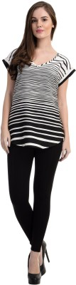 Antilia Femme Casual Short Sleeve Striped Women's Black Top