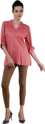 Pret a Porter Casual Full Sleeve Embellished Women's Pink Top