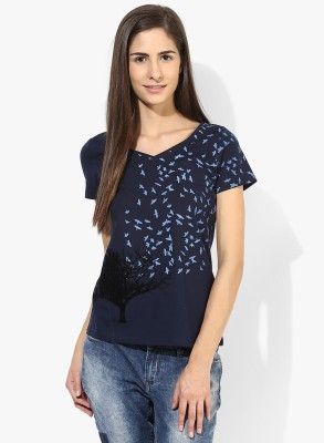 Tshirt Company Casual Short Sleeve Graphic Print Women's Dark Blue Top