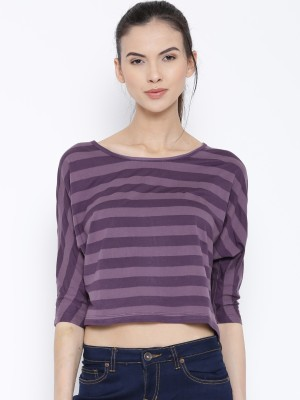 Rat Trap Casual 3/4 Sleeve Striped Women's Purple, Pink Top