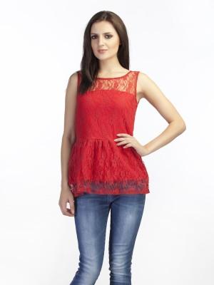 Schwof Party Sleeveless Self Design Women's Red Top