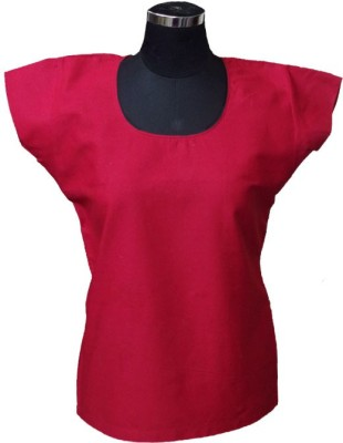 Ovzia Casual Cape Sleeve Solid Women's Red Top