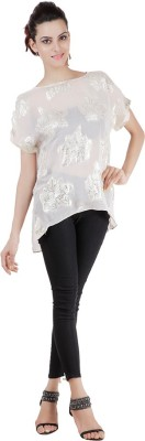 Pret a Porter Casual Cap sleeve Printed Women's White Top