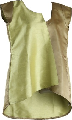 Larjjosa Party Cap sleeve Solid Women's Gold, Light Green Top
