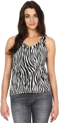 The Vanca Party Sleeveless Printed Women's Black Top at flipkart