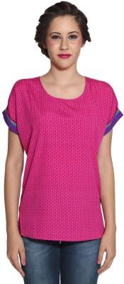 Prakum Casual Roll-up Sleeve Printed Women,s Pink, Blue Top