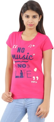 PEP18 Casual Short Sleeve Graphic Print Women's Pink, Dark Blue Top