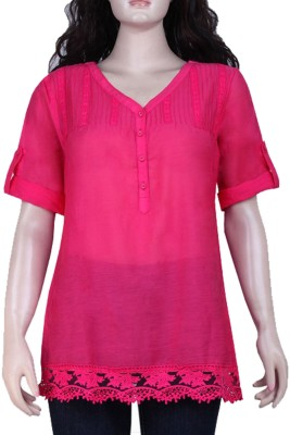 Mustard Casual Roll-up Sleeve Solid Women's Pink Top