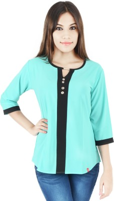 Integriti Casual Full Sleeve Solid Women,s Green Top