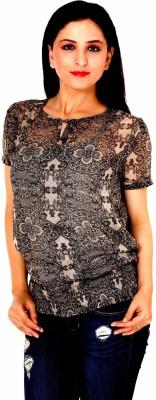 Damsel Casual Short Sleeve Floral Print Women's Black Top