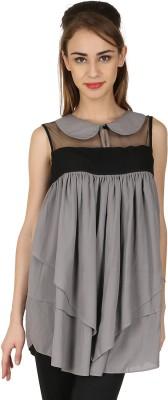Natty India Casual Sleeveless Solid Women's Grey, Black Top