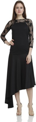 James Scot Formal, Party, Lounge Wear 3/4 Sleeve Solid Women's Black Top