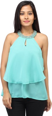 Entease Casual Sleeveless Embellished Women's Green Top