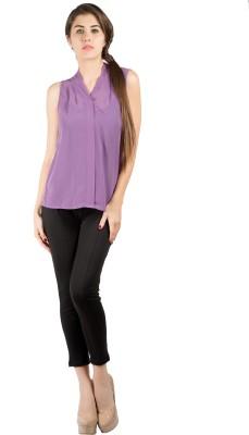 109F Casual Sleeveless Solid Women's Purple Top