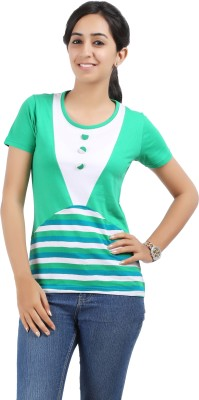 Maringo Classic Casual Short Sleeve Striped Women's Green, White, Blue Top