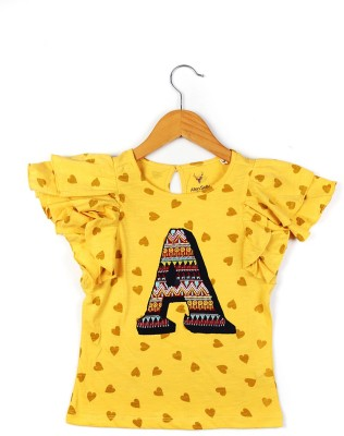 Allen Solly Casual Cape Sleeve Printed Girl's Yellow Top