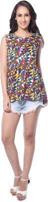 Florriefusion Casual Sleeveless Geometric Print Women's Multicolor Top