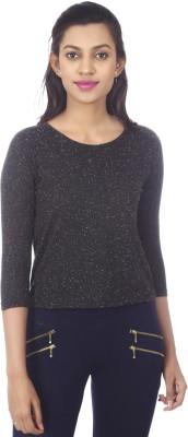 karney Casual 3/4 Sleeve Solid Women's Black Top