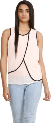Glitterss Casual Sleeveless Solid Women,s Beige, Black Top