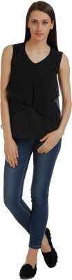 Holidae Casual Sleeveless Solid Women's Black Top