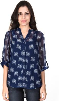 SHIBORI Casual 3/4 Sleeve Printed Women's Blue Top