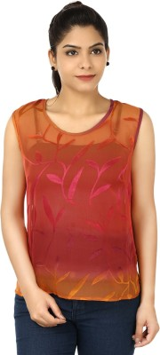 Eves Pret A Porter Casual Sleeveless Printed Women's Pink, Orange Top
