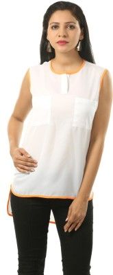 Cambow Casual Sleeveless Solid Women's White, Orange Top