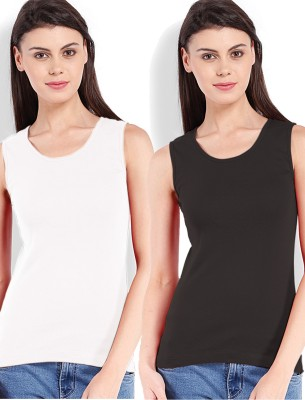Beyouty Casual Sleeveless Solid Women's Black, White Top