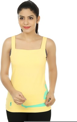 Stretchery Sports Sleeveless Solid Women's Yellow Top